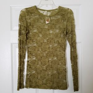 Tops - Sheer floral olive top